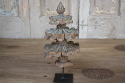 Architectural Teak Finial, 19th Century mounted on an iron stand <b>SOLD<b>